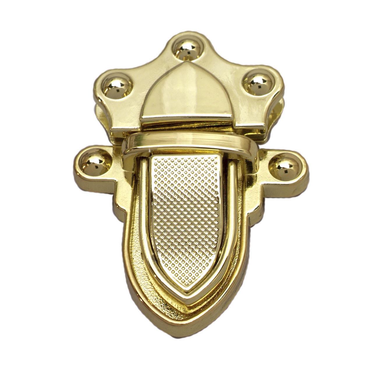 Замок клавишный на винтах 3,9х5,3 см фигурный Золото