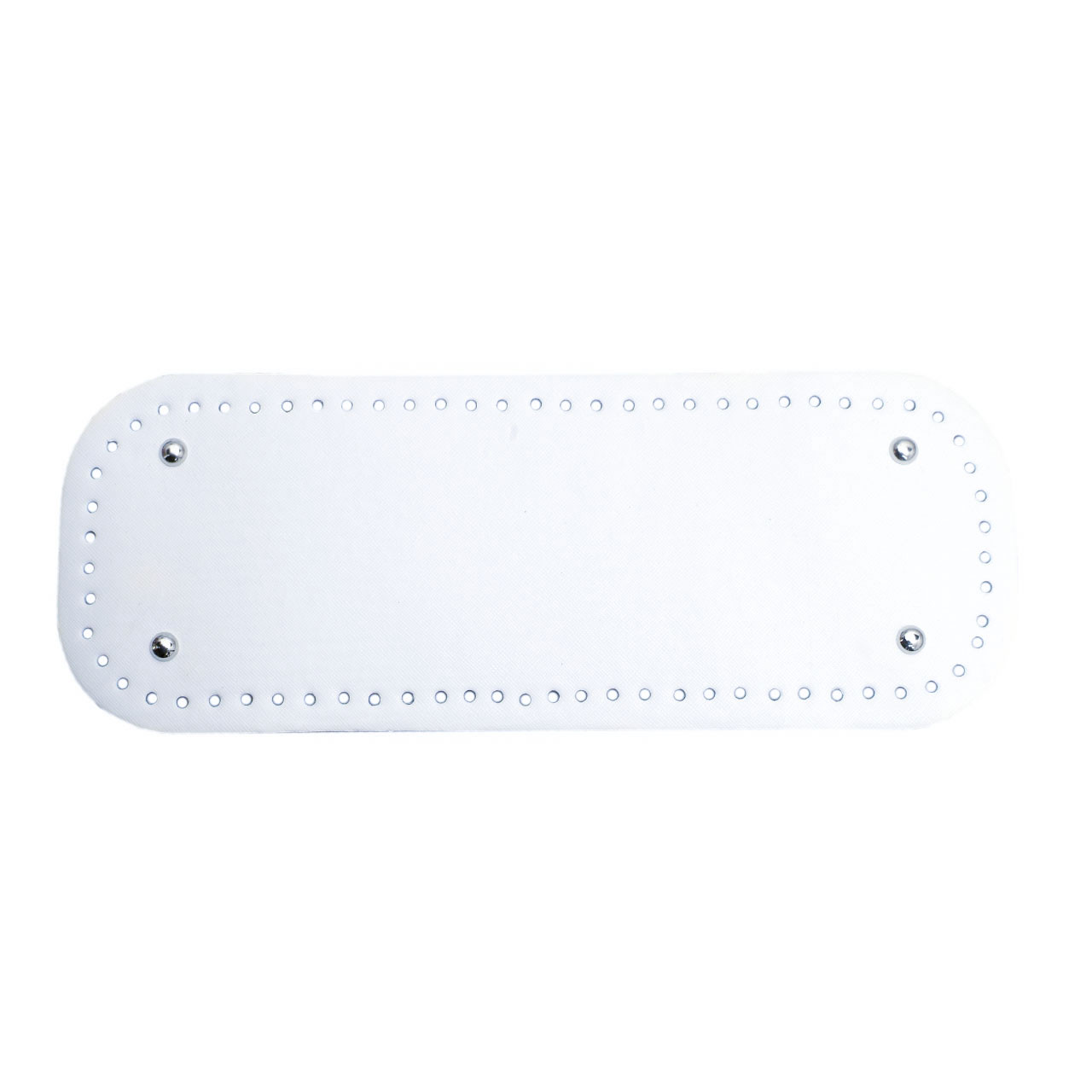 АКЦИЯ Донышко прямоугольное экокожа 12,5*33 см, Белое с ножками серебро
