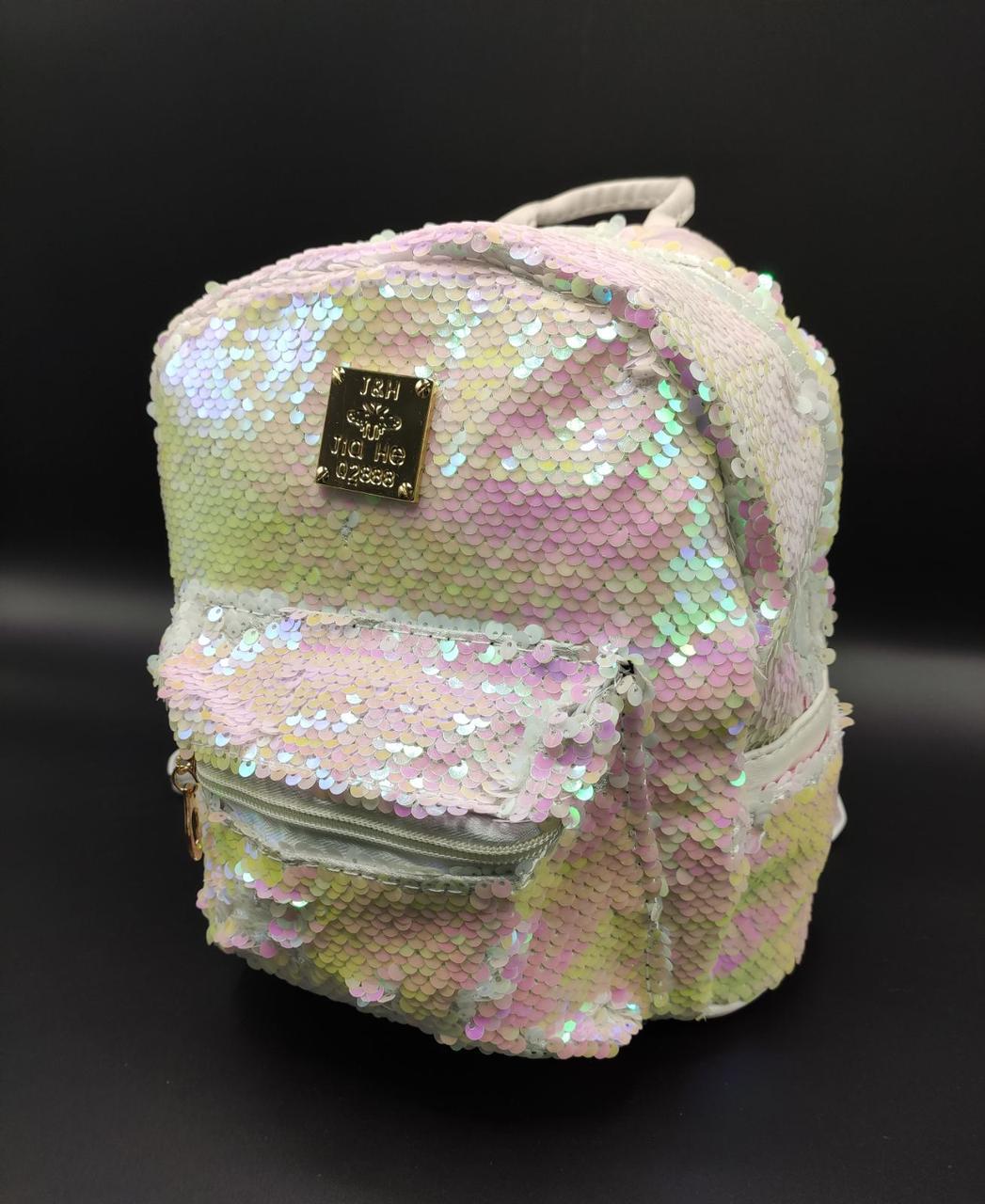 Женский рюкзак с блестками 6 Цветов Белый
