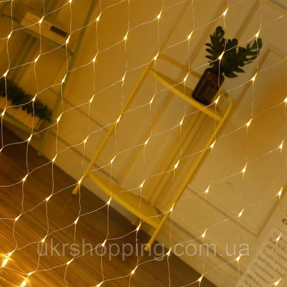 Гирлянда сетка на окно (Xmas Net WW 120 LED, теплый белый) новогодняя светодиодная ЛЕД (новогодние гирлянды)