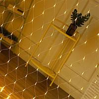 Гирлянда сетка на окно (Xmas Net WW 120 LED, теплый белый) новогодняя светодиодная ЛЕД (новогодние гирлянды), фото 1