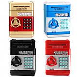 Копилка детский сейф банкомат с кодовым замком и купюроприемником для бумажных денег и монет, фото 7