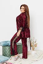 Женская красивая пижама-тройка из королевского велюра украшенная кружевом с 50 по 64 размер, фото 2