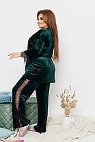 Женская красивая пижама-тройка из королевского велюра украшенная кружевом с 50 по 64 размер, фото 3