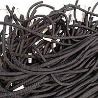 Шнур (текстильный) №4 круглый черный с белым наконечником 125см.