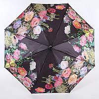 Сатиновый зонт антиветер с цветами Lamberti  (полный автомат) арт. 73744-2, фото 1