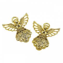 Кулон Ангел, из Сплава, Цвет: Античное Золото, Размер: 42.5х40х3мм, Отверстие 3мм, 2 шт
