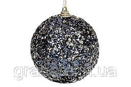Елочный шар 8см, цвет - чёрный с золотом (16шт)