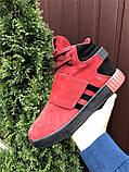 Мужские кроссовки Adidas Tubular зимние на меху красные, фото 7
