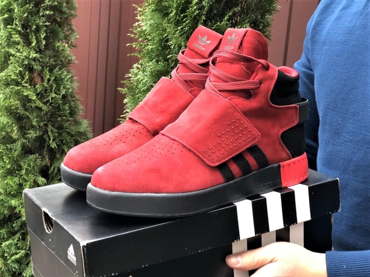 Мужские кроссовки Adidas Tubular зимние на меху красные