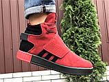 Мужские кроссовки Adidas Tubular зимние на меху красные, фото 6