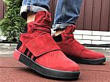 Мужские кроссовки Adidas Tubular зимние на меху красные, фото 4