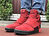 Мужские кроссовки Adidas Tubular зимние на меху красные, фото 5