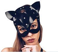 Маска Женщина-кошка Черная кнопки (M-B3Rivets)