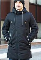 Парка куртка мужская матовая зимняя удлиненная NICE хаки 50р