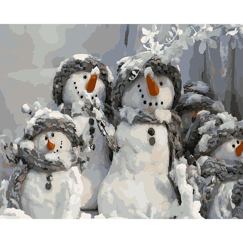 "Картина по номерам 40*50 см ""Снеговики"""