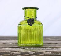 Ваза Монстера зеленая h12см лакированное стекло  1016385-1 куб зел.
