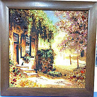 Картина з бурштину Пейзаж Дворик у дерев'яній широкій рамці П-344 40*40