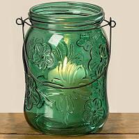 Підсвічник Метелик зелене лаковане скло һ16см 1001997