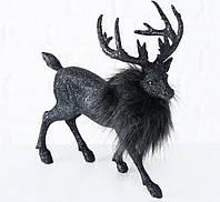 Статуетка Олень полістоун чорний һ24см 2002391, фото 1