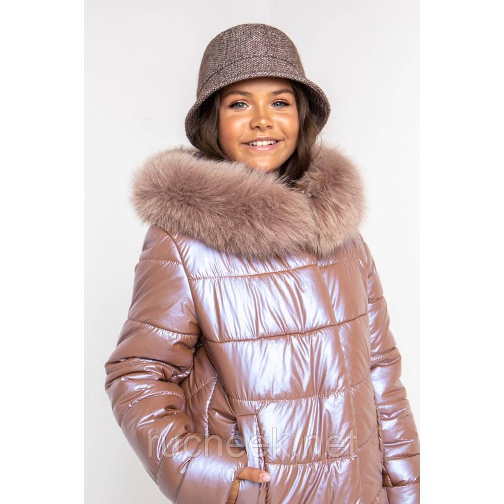 Перламутровая зимняя куртка для девочки рост 128-134. Пуховик с натуральным мехом для девочки р