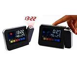 Часы метеостанция с проектором времени на стену Color Screen 8190 календарь, фото 3