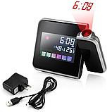Часы метеостанция с проектором времени на стену Color Screen 8190 календарь, фото 6