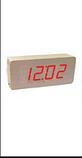 Стильные настольные часы под дерево VST-865 с красной подсветкой, фото 3