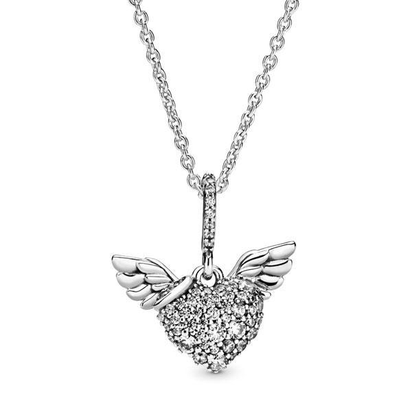 Пандора Колье с кулоном Сердце паве с крыльями ангела Pandora 398505C01-45