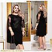 Платье вечернее облегающее рукав 3/4 креп дайвинг+сетка с вышивкой 50,52,54,56, фото 2