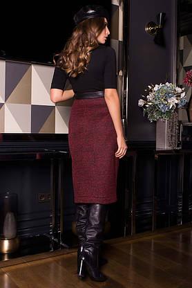 Кожаная юбка карандаш комбинированная на запах, фото 3