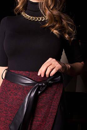 Кожаная юбка карандаш комбинированная на запах, фото 2