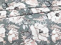 Хлопковая ткань пудровые пионы на сером