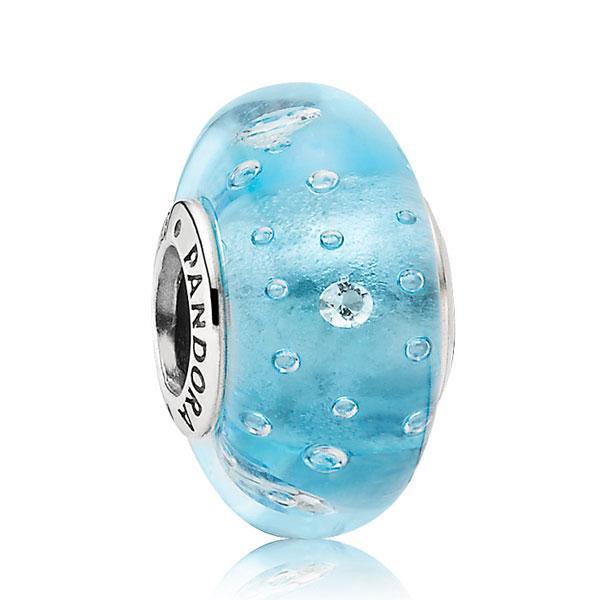 Пандора Подвеска-шарм Голубое муранское стекло Pandora 791618CZ