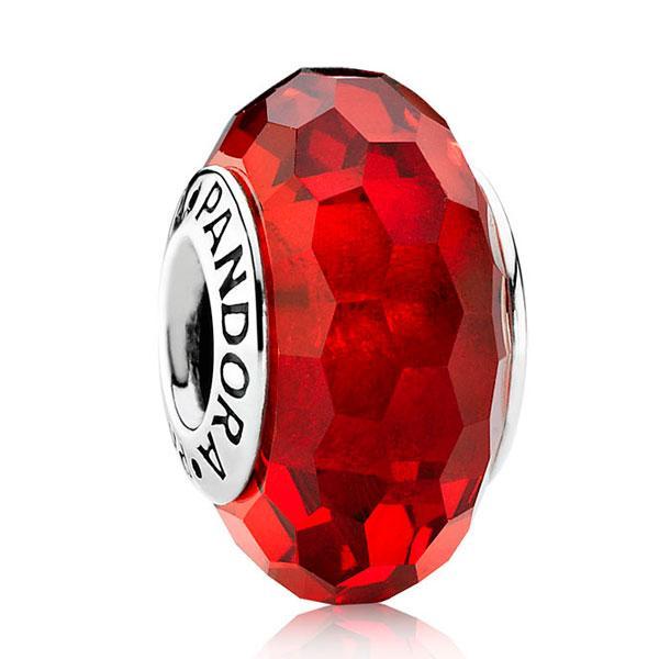 Пандора Подвеска-шарм Красное Ограненное стекло мурано Pandora 791066