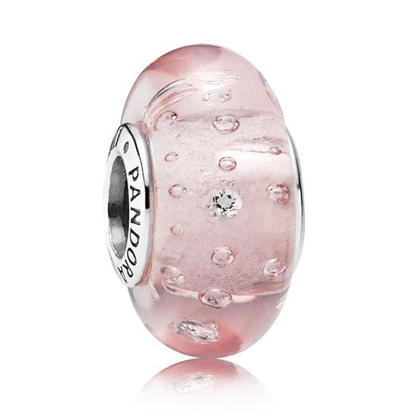 Пандора Подвеска-шарм Розовое муранское стекло Pandora 791615CZ