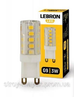 Светодиодная LED лампа LEBRON L-G9, 3W, G9, 3300K, 280LM, УГОЛ 360 ° мягкий свет