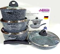 BN-325 (2)-Набор кастрюль и сковорода 2.1л 4.2л 6.3л Гранитное покр. светлое