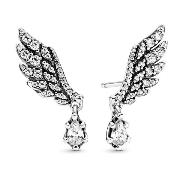 Пандора Серьги-пуссеты Крылья ангела с подвесками Pandora 298493C01