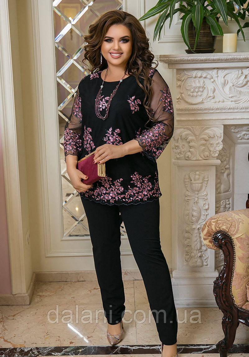 Женский брючный черный костюм с вышивкой на сетке батал