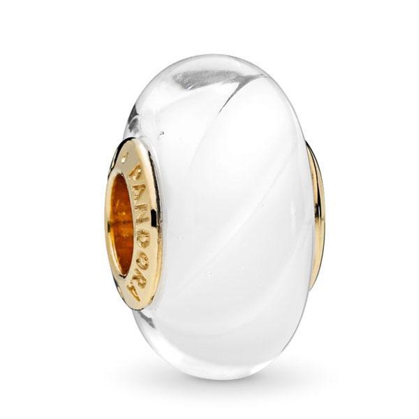 Пандора Шарм Белое стекло Позолота Pandora 767160