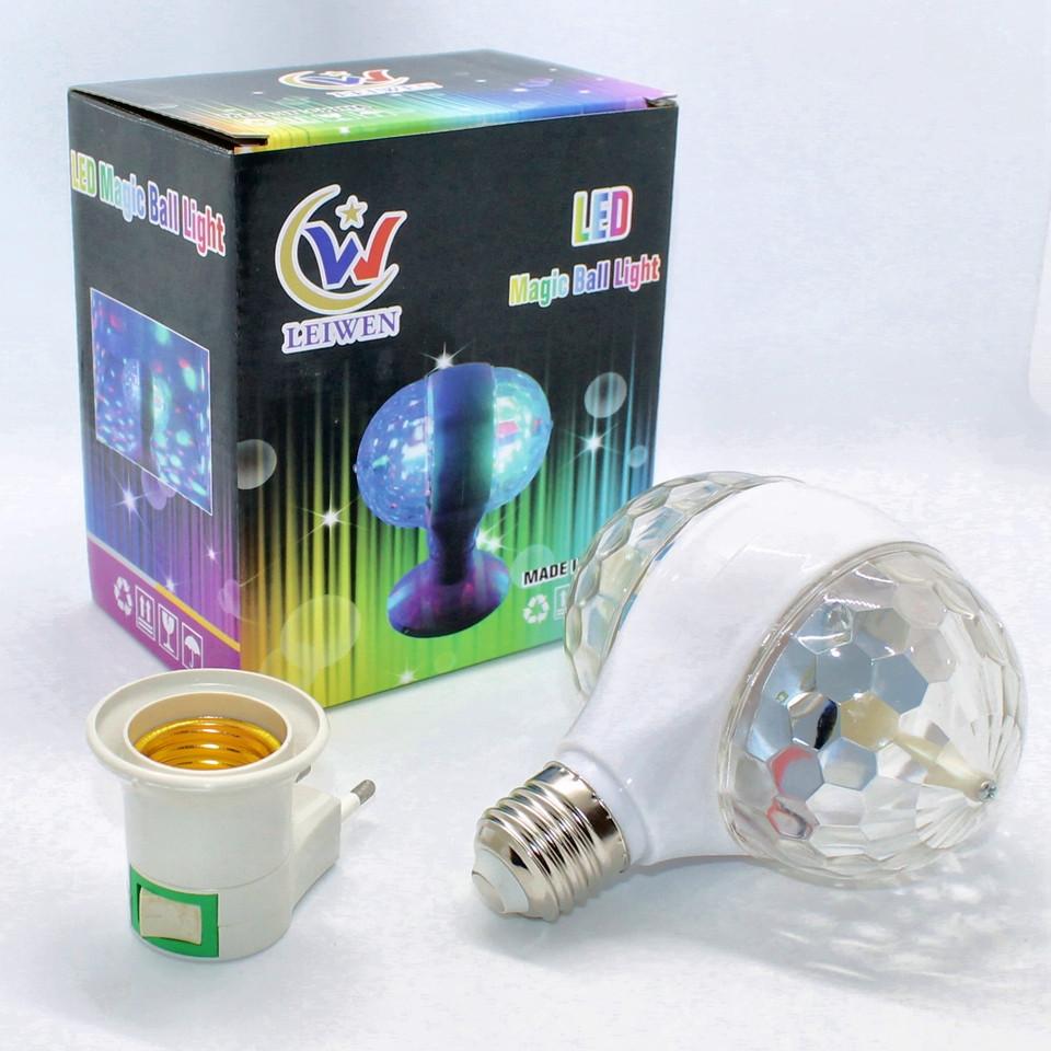 Светодиодный диско шар в патрон Led Magic Ball Light SMQ01 Вращающаяся двойная лампа цветомузыка