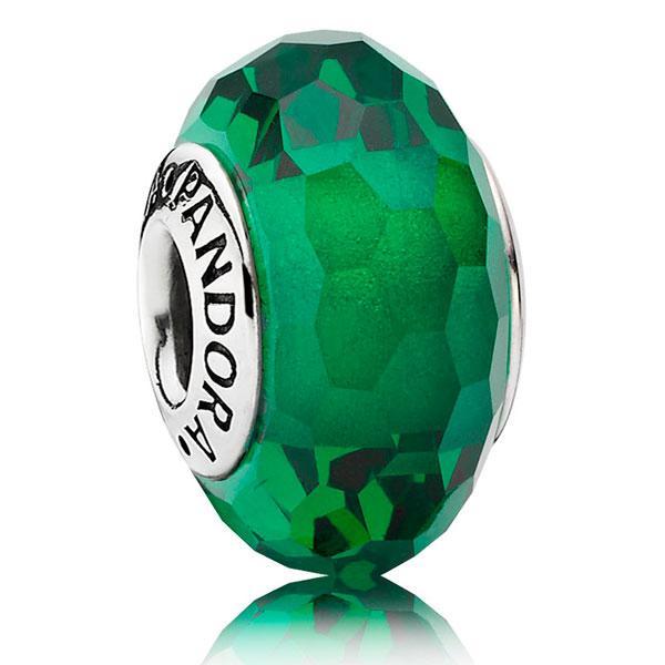 Пандора Шарм Зеленое Ограненное стекло мурано Pandora 791619