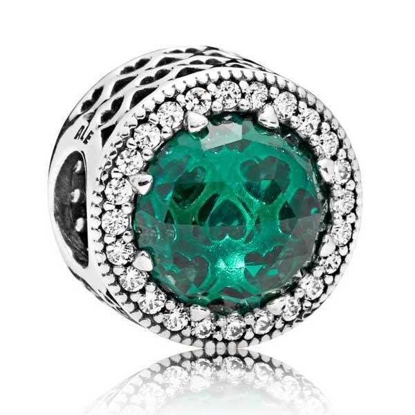 Пандора Шарм Зеленое сияющее сердце Pandora 791725NSG