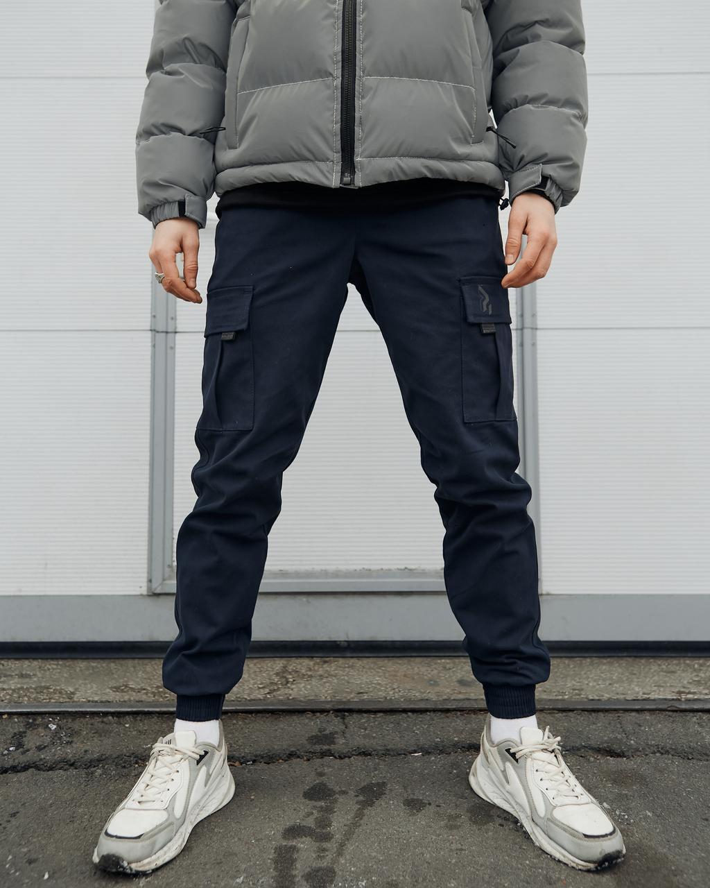 Теплые брюки карго мужские Пушка Огонь Slot темно-синие