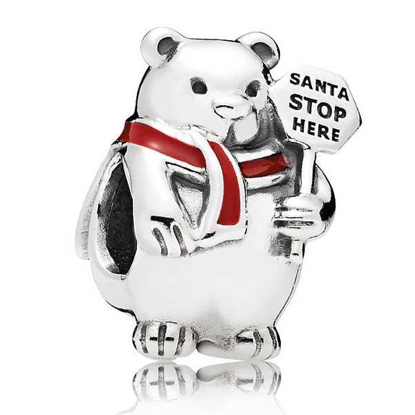 Пандора Шарм Рождественский белый медведь Pandora 796466EN39