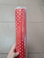 Папір двосторонній в горошок 70*10м. горох червона