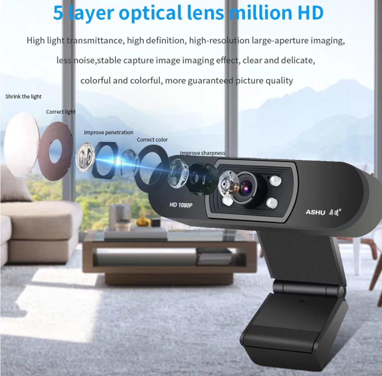 Веб камера ASHU H800 со встроенным микрофоном USB 2.0 1080P для видео звонков