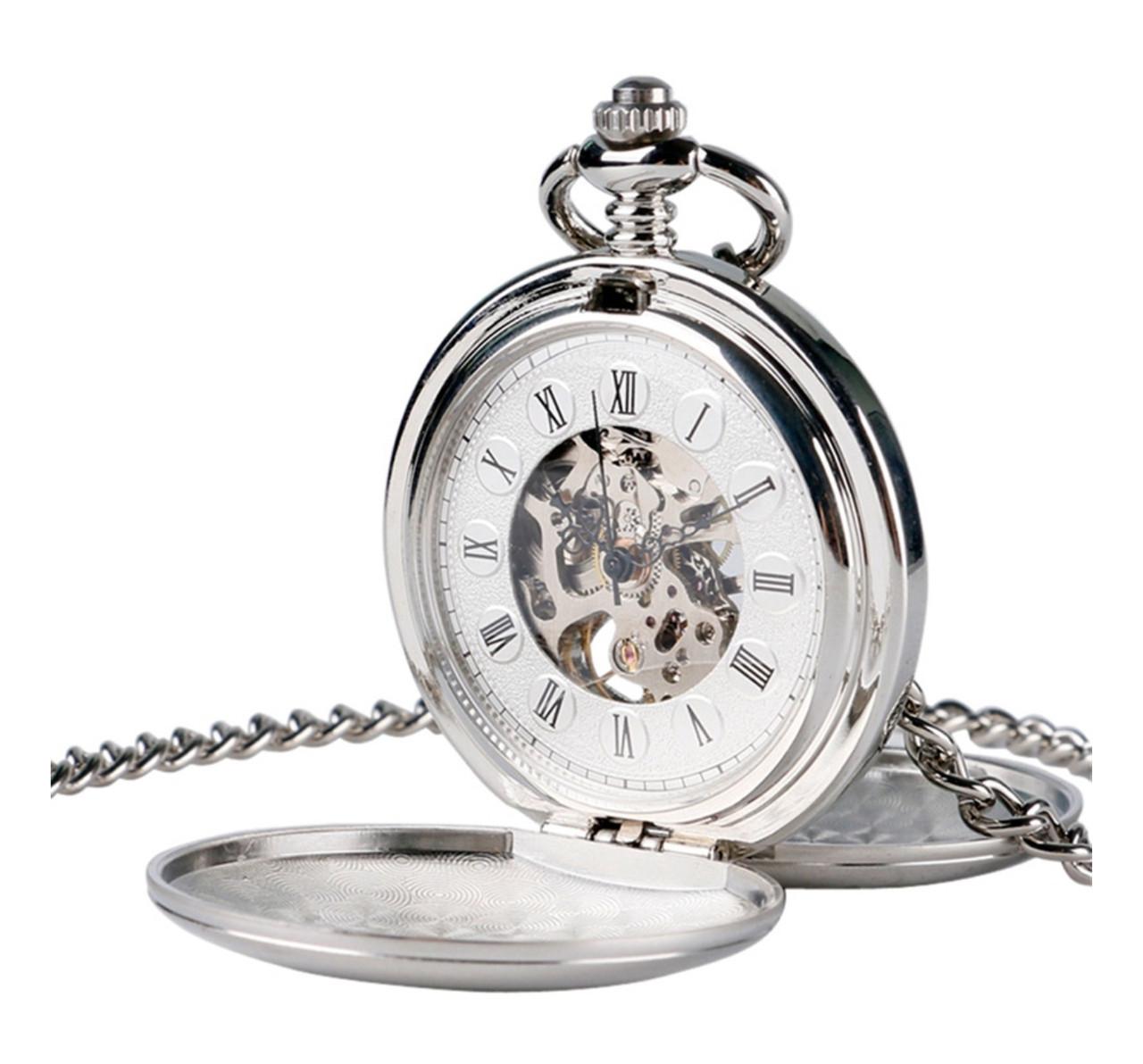 Карманные мужские часы механика две крышки