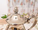 Посеребренный английский заварочный чайник на ножках, серебрение, мельхиор, Англия, 1,2 литра, фото 6